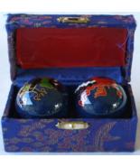 Chinese Baoding Therapy Stress Balls Enamel Cloisonne Finish Dragon Fire... - $12.99
