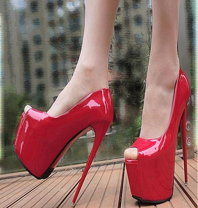83H032 chic 17 cm heels candy color pumps,US Size 4-8.5, red