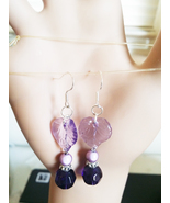 purple leaves glass bead drop earrings handmade nature jewelry  - $5.99