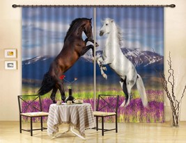 3D Flowers Lawn Horse 01 Blockout Photo Curtain Print Curtains Drapes US... - $177.64+