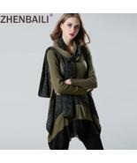 ZHENBAILI Fashion Long Sleeve Contrast Double Layer Hem Knit Jumper Patc... - $52.09