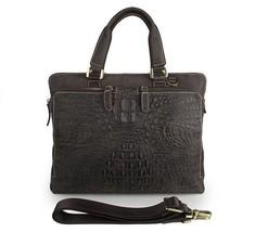 Men Genuine Leather Military Briefcase  Laptop Portfolio Crocodile Embossed - $99.44
