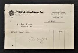 1946 antique AVONDALE pa MEDFORD-DUNLEAVY RECIPT laura brosius - $22.50