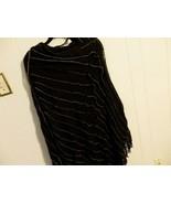 Wome M L XL 14 16 18 Knit Sweater Shawl Black Pull Poncho Cape Drape Lon... - $24.01