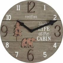 "Cabin Bear Pine Lodge Wildlife Large 16"" Round Wall Clock, Brown, Modern... - $34.63"