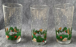 Christmas Glass Tumblers 3 Holly Leaves Berries & Pinecone 12oz Holiday ... - $19.79