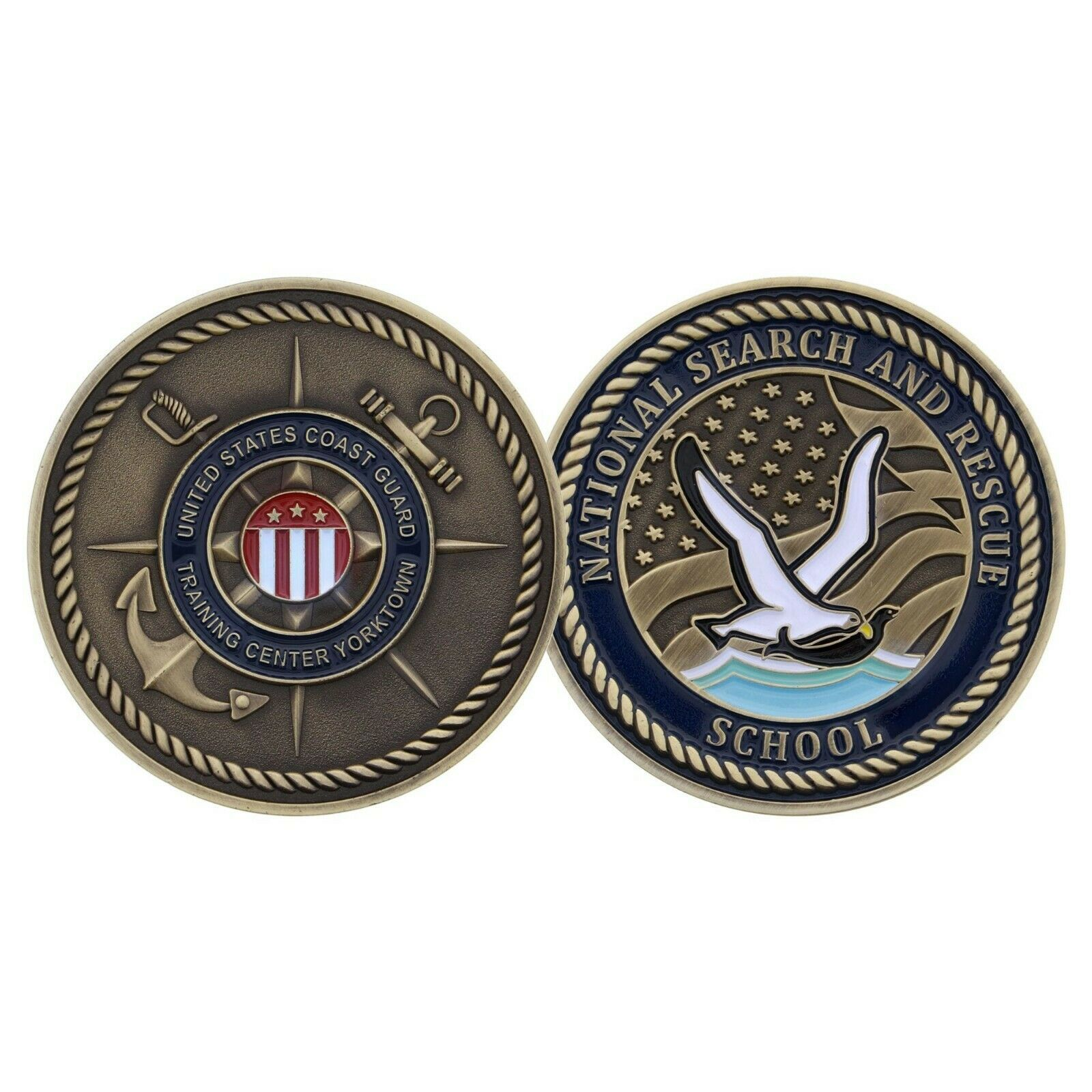 "USCG COAST GUARD YORKTOWN SEARCH AND RESCUE SCHOOL 1.75"" CHALLENGE COIN"