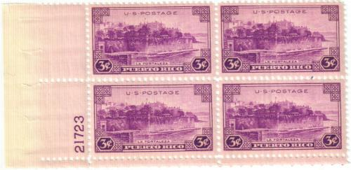 1937 3c Puerto Rico Plate Block of 4 US Postage Stamps Catalog 801 MNH