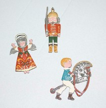 3 Metal Flat Ornaments Angel Soldier and Boy on Toy Horse - $42.75