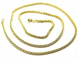 9K YELLOW GOLD CHAIN SPIGA EAR ROPE LINKS 2.5 MM THICKNESS, 24 INCHES, 60 CM image 2