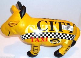 City Taxi COW Stuffed Cow Yellow Cab Animal Toy Black & White Checker Ra... - $14.99