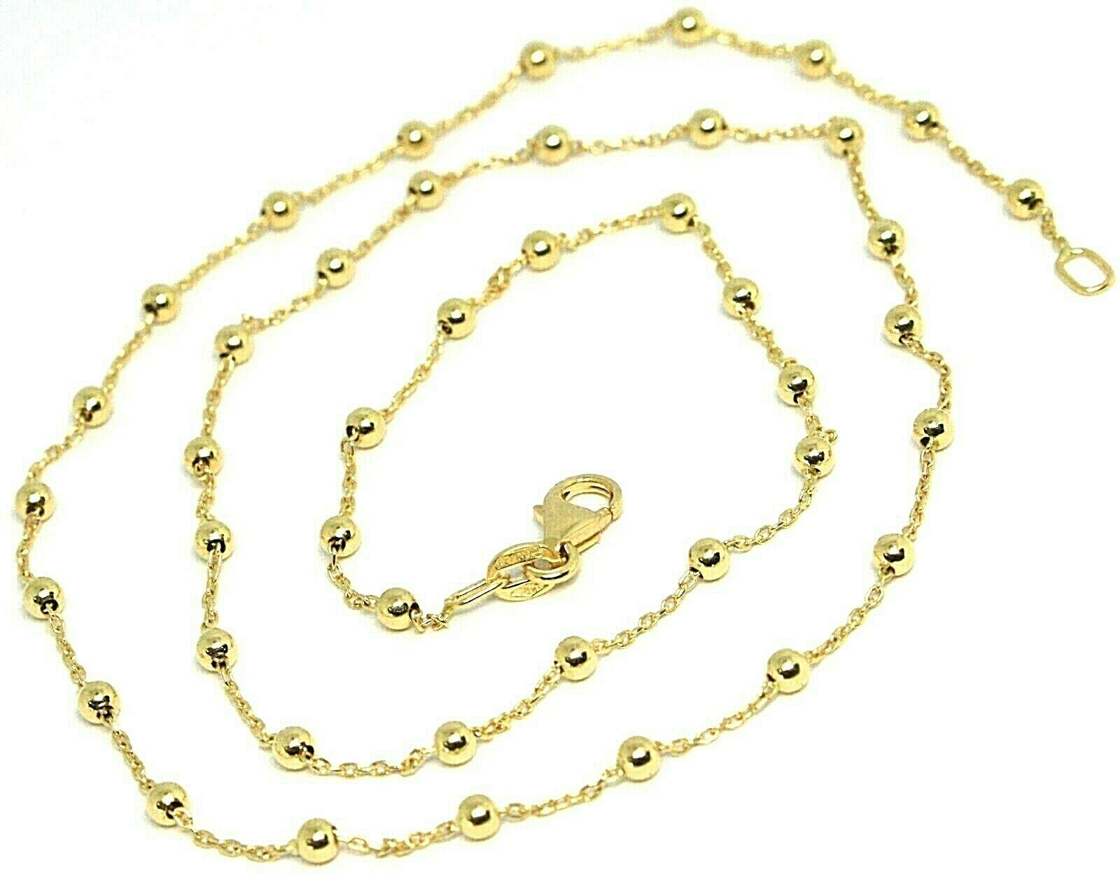 18K YELLOW GOLD MINI BALLS CHAIN 2 MM, 18 INCHES SPHERE ALTERNATE OVAL ROLO LINK