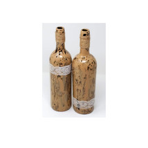Painted wine bottles, Wine bottle decor, Fall accent, Crackle Finish Bot... - $23.00