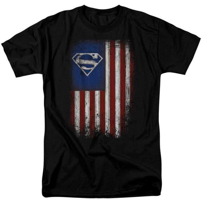 Superman T-shirt Patriotic Old Glory DC Comics retro graphic tee SM2501