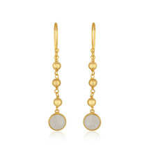 Handmade 18k Gold Plated Silver Moon stone Dangle Earring Wedding Jewelry - $19.80