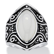 PalmBeach Jewelry Simulated Moonstone Antiqued .925 Silver Boho Scroll Ring - $26.82