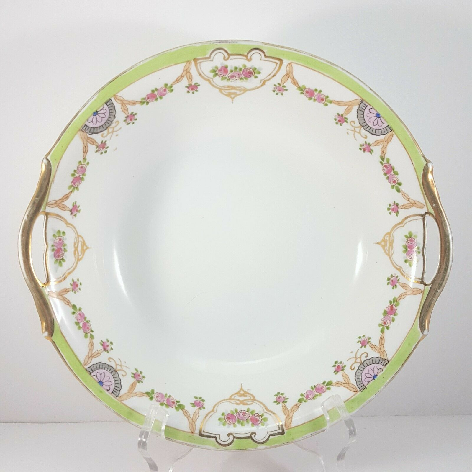"Primary image for Antique Hand-Painted Nippon Serving Bowl 9.25"" White Green Gold Pink Floral"