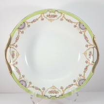 "Antique Hand-Painted Nippon Serving Bowl 9.25"" White Green Gold Pink Floral - $64.35"