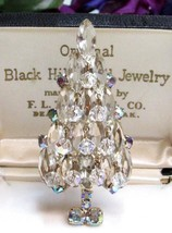 Vintage White Rhinestone & AB Beaded Christmas Tree Figural Pin Brooch  - $369.15