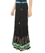 Blue Zig Zag Border Crush Jaipuri Skirt  - $25.75