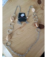 1218 SILVER W/ TAN BEADS NECKLACE SET (new) - $8.58