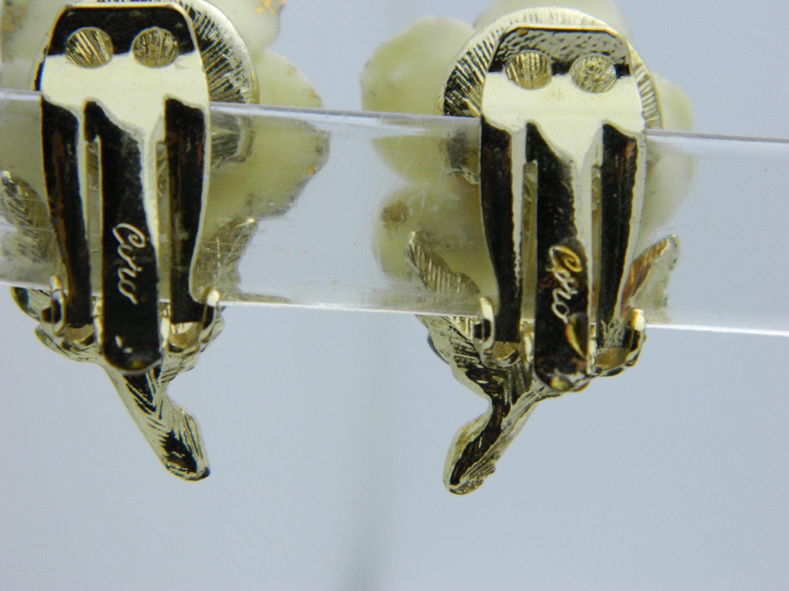 CORO Cream Rose Gold Glitter Gold Tone Porcelain Clip-On Earrings Vintage