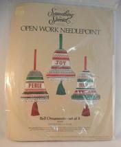 Something Special Open Work Needlepoint Kit Christmas Bell Ornaments Joy Noel - $14.84