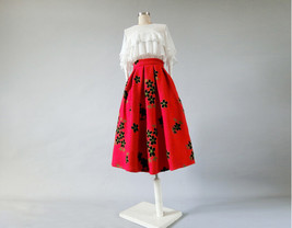 RED Flower Winter Long Pleated Skirt Warm Woolen Pleated Skirt Christmas Outfit image 4