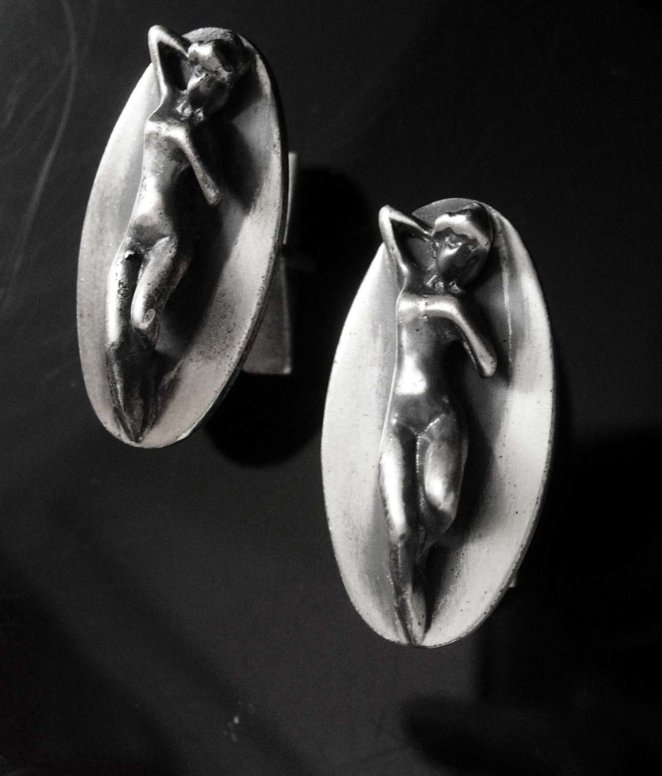 Art deco erotic cufflinks Sterling Vintage Tantra silver Mens Novelty Naughty Fe