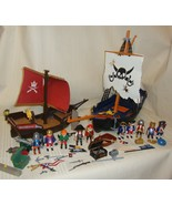2 Playmobil Pirate Ship Toy Geobra Vintage Figures Weapons Accessories - $69.29