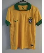 Brazil Authentic Soccer CBF Dri-Fit Home Jersey Nike Mens Sz S Green Sleeve - $27.71