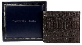 NEW TOMMY HILFIGER MEN'S PREMIUM LEATHER COIN WALLET YEN BILLFOLD BROWN 5647/02 image 2