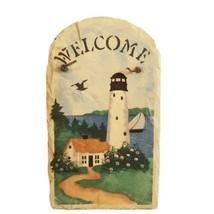 "Welcome Slate Lighthouse Nautical Scene 13.5"" x 8.5""x. 25"" - $15.93"
