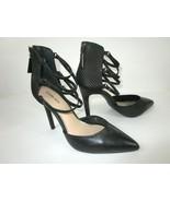 GIANNI BINI Women's Black Strappy Back Zip Up Stiletto Heel Shoes Size 7... - $27.77