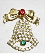 Stunning Vintage  Christmas Brooch Christmas Bell Rhinestine Gold Tone - $21.59