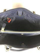 Coach Kitt Carryall Tote Navy Blue Crossgrain Leather Gold Tone HW with Dustbag image 4