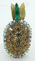 Vintage Gold Tone Topaz Green Rhinestone Pineapple Pin Brooch - $29.70