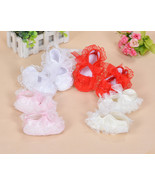 New Baby Girls Satin Christening Shoes Pink Red White Yellow Ivory 0 3 6... - $9.48