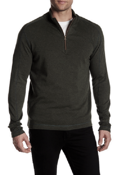 Primary image for Robert Graham Elia Quarter Zip Pullover, Heather Dark Charcoal , Size XL,  $148