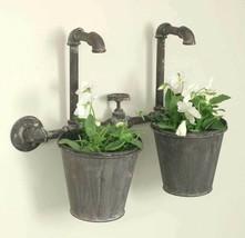 Industrial Double Wall Faucet Flower Pot Planter Rustic Vintage Primitiv... - €35,18 EUR