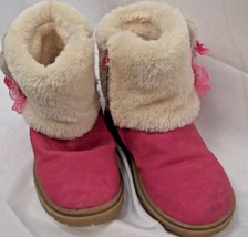Child Girls Winter Boot Fleece Lined Faux Suede Hot Pink Side Zip Appx 11C - £8.17 GBP