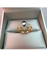 10k Yellow Gold Diamond Accent Pear Blue Sapphire Ring 4.7g Size 7 AJ De... - $178.19