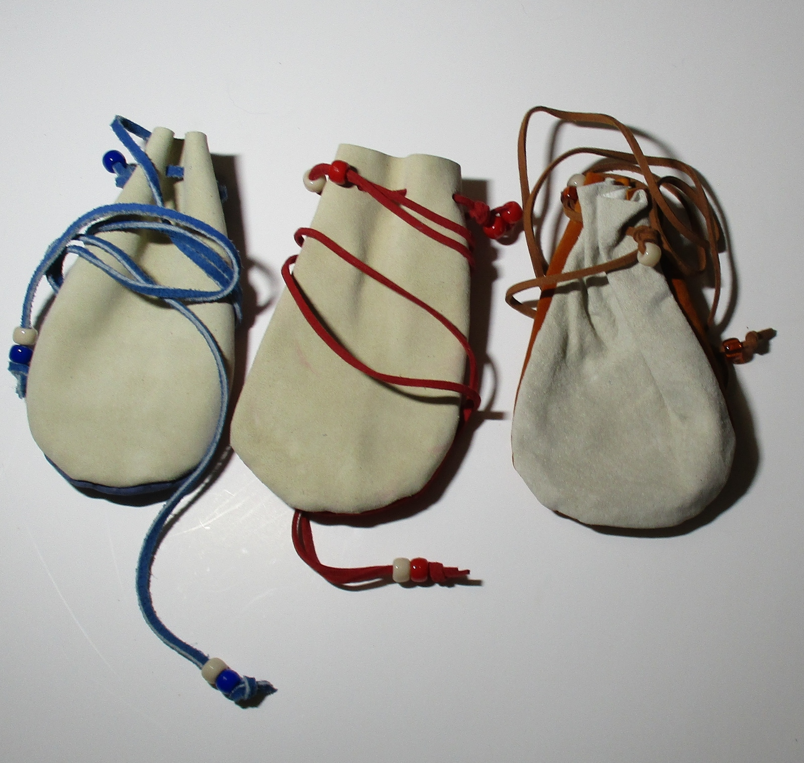"American Made! Two Toned 3x5"" Medicine Bags Leather Baby Soft, Crow Beads"