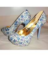 FRH High Heels Sz 8.5 Platform Stiletto Slip-On Floral Blue Pink White W... - $42.56
