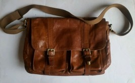 Authentic Fossil Brown Leather Crossbody City Messenger Bag Unisex - $98.99