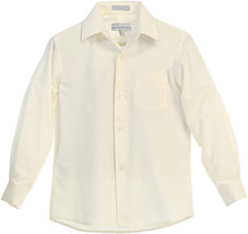 Boy's Classic Fit Long Sleeve Button Down Kids Off White Dress Shirt - Size 6 image 2