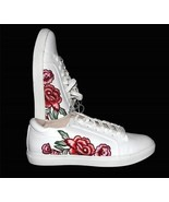 Kenneth Cole JOEY White Embroidered Shabby Roses Flowers Sneakers Shoes ... - $64.99