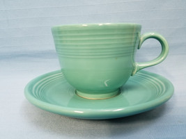 Vintage Fiestaware Turquoise Cup Saucer Fiesta Handled Teacup Mug Aqua - $24.99