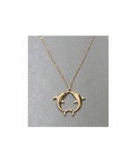 Modern Metallic Twin Dolphins Pendant Necklace - $12.95
