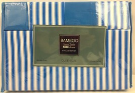 Bamboo Egyptian Comfort Queen Size Sheet Set 1800 Series Blue White Stri... - $29.65